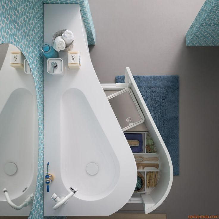 Versa by Birex - Bath cabinet with top and integrated sink in Mineralmarmo®