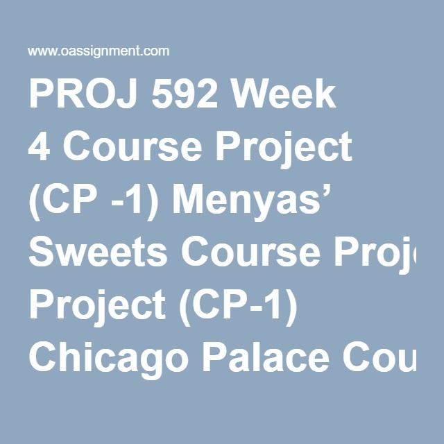 PROJ 592 Week 4 Course Project (CP -1) Menyas' Sweets Course Project (CP-1) Chicago Palace Course Project (CP-1) Tabula Rasa Discussion Questions: Advanced Scheduling and Crashing