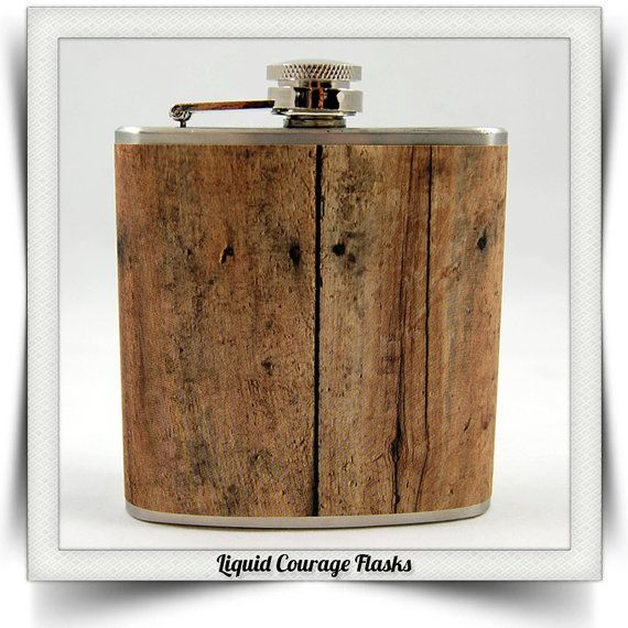 SALE - 8 oz  Old Barn Wood Whiskey Flask Vintage Distressed Brown Wood Groomsmen Bridal Party Birthday Gift Stainless Steel Liquor Hip Flask