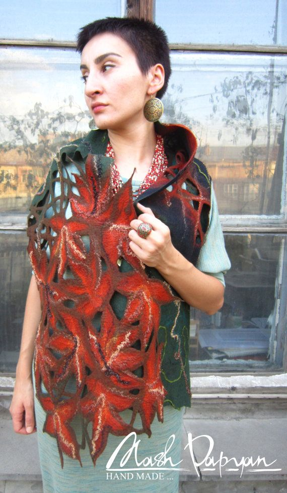Felted Scarf  Legends of Fall  Felted shawl. by MashPapyanHandmade, $105.00