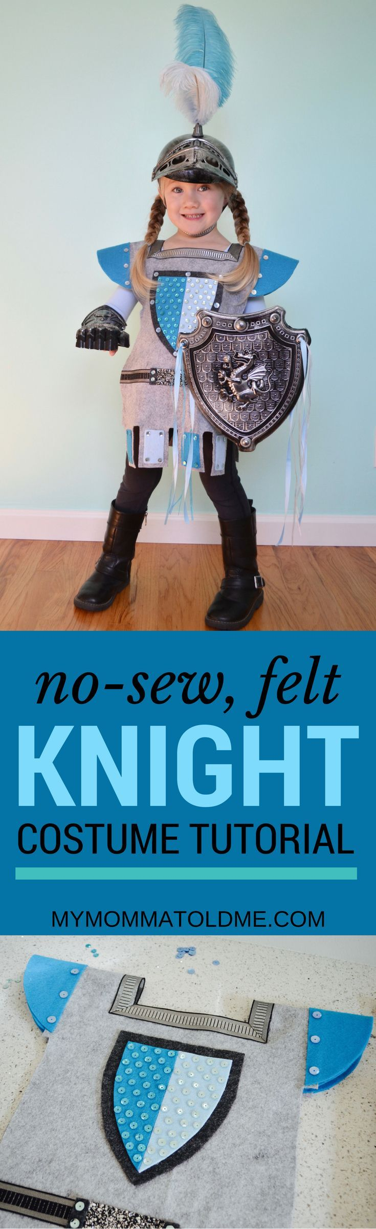 No sew felt knight costume diy!  Download the free pattern and use craft glue to assemble!  perfect for boys or girls Halloween or dress up costume!  Learn how to embellish Dollar store helmet and shield too!