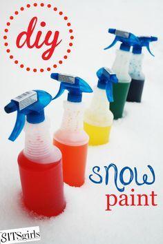 Peinture sur neige Arts plastiques sur neige avec eau colorée.