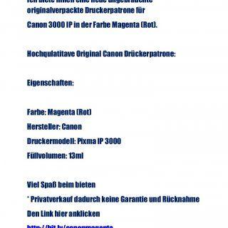 Druckerpatronen Cannon Ich biete Ihnen eine neue ungebrauchte originalverpackte Druckerpatrone für Canon 3000 IP in der Farbe Magenta (Rot). Hochqulatitave. http://slidehot.com/resources/druckerpatronen-cannon.65525/