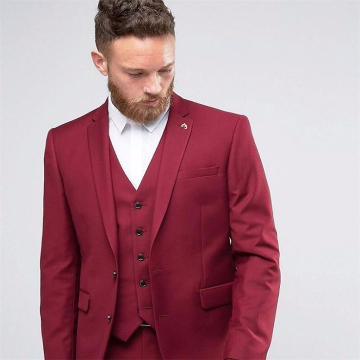 Cheap tuxedo 3 piece, Buy Quality tuxedo pieces directly from China tuxedo for men wedding Suppliers: HB035 Handsome Burgundy Bridegroom Tuxedos 3 Pieces Wedding Prom Suits For Man Dinner Formal Male Costumes jacket+Vest+Pants