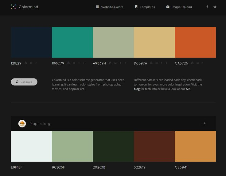Colormind is a color scheme generator that uses deep learning. It can learn color styles from photographs, movies, and popular art. learning. It can learn color styles from photographs, movies, and popular art. Different datasets are loaded each day, check back tomorrow for even more color inspiration. Visit the blog for tech info or have a look at our API