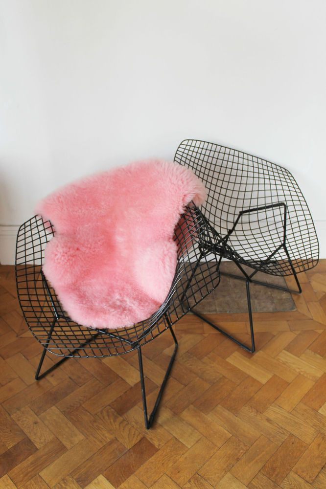 Pair Of Original Vintage Black Diamond Chairs By Harry Bertoia For Knoll  C1950s