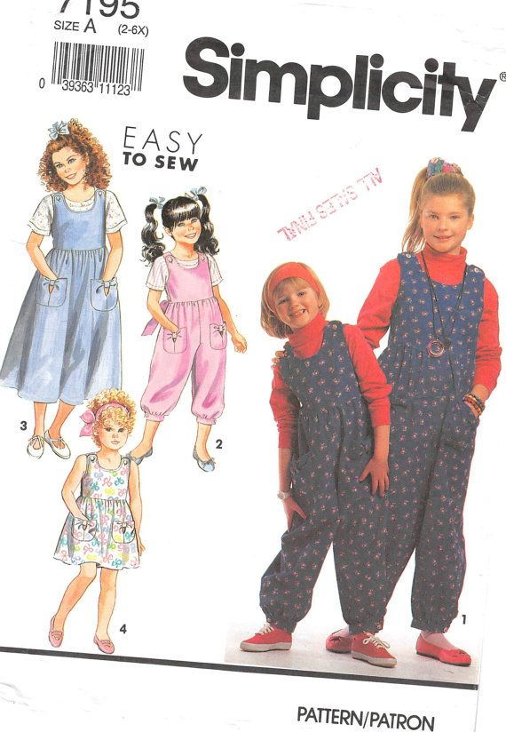 Size 2 3 4 5  6 6x; Simplicity 7195 Easy to Sew; Girls Overall and Dress Pinafore Sewing Pattern; Girls Full Skirt Gathered Sun Dress by AffordablePatterns
