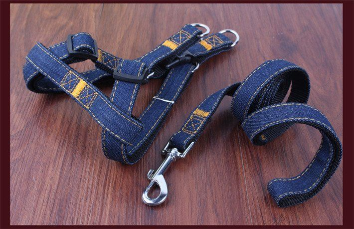 Demin Dog Harness  Keep your dog looking stylish with a demin harness!  For $6.99! 2 colours and 4 sizes available!  https://www.adventuretechstore.com/collections/dog-accessories/products/colorful-denim-dog-harness