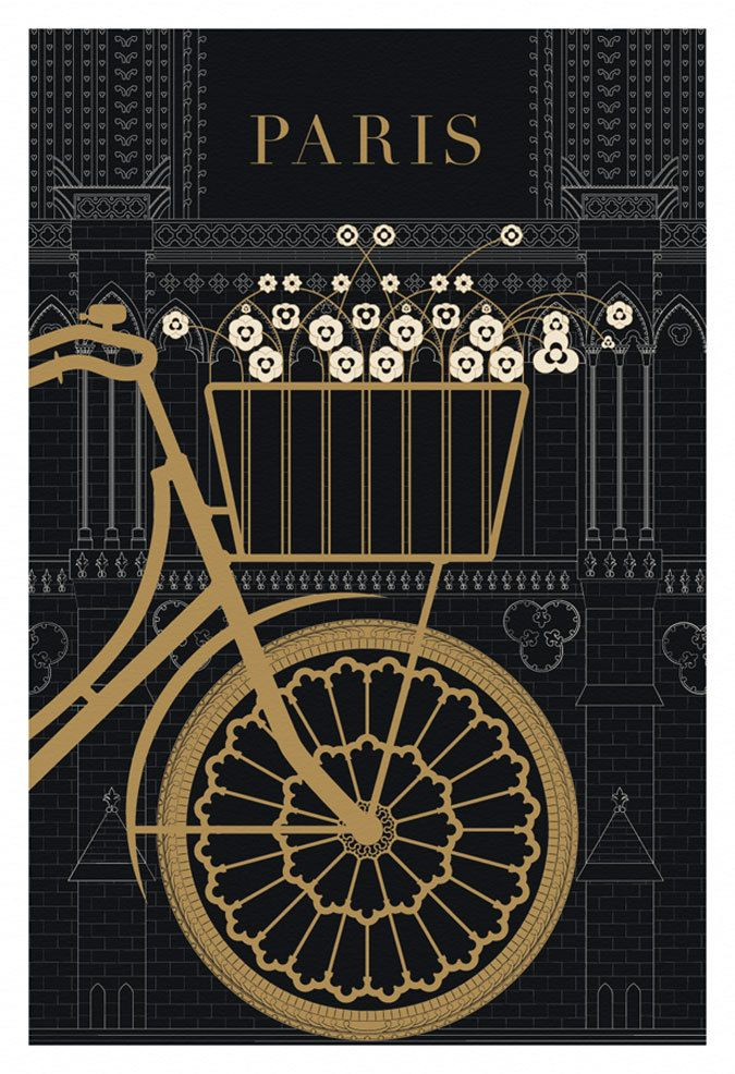 Paris, Bicycle, Notre Dame - Poster Print, Original Illustration, Art Print, Black and Gold Paris, Drawing and Illustration. $24.00, via Etsy.