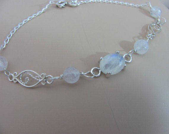 Moonstone Bracelet in Sterling Silver, Rainbow Moonstone Jewelry – Lindas Jewelry Shop