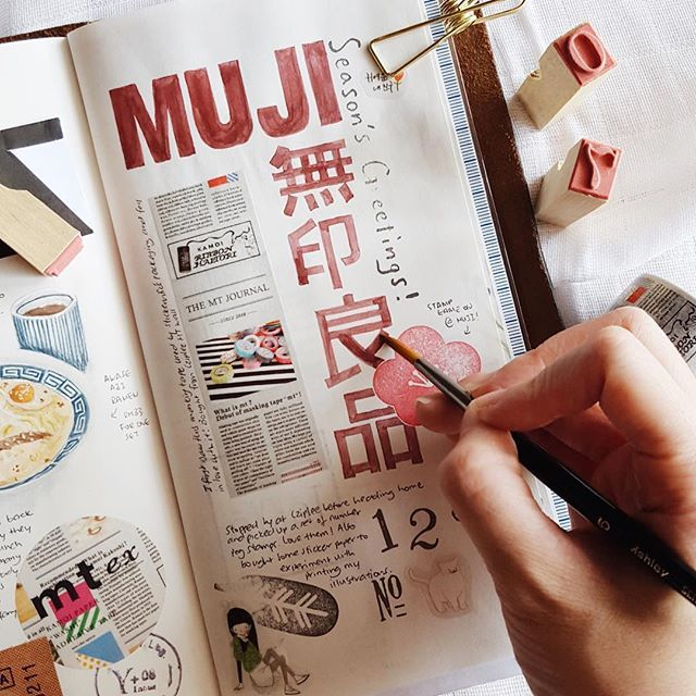 I really enjoy handlettering and copying logos but I work too slow and it always takes me too long Close-up of the Muji logo I drew some weeks ago!