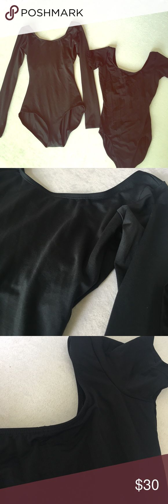 Women's ballet leotards + shoes Two black ballet leos • 81% meryl 19% lycra (material on both has shine)  • like new • one long sleeve • one short like cap sleeve • one pair Capezio 7 1/2 ballet shoes *I wore these for a few ballet classes but they're especially cute as an outfit with shorts, skirts, etc.! Tops