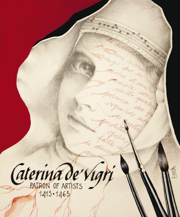 Erica Calardo -SANTA CATERINA DE' VIGRI- grafite, tempera, matite colorate e acquerello su carta