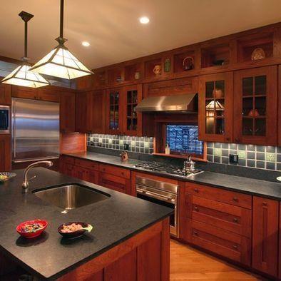 Craftsman Style Kitchen Cabinets & Soapstone Countertops #home #decor