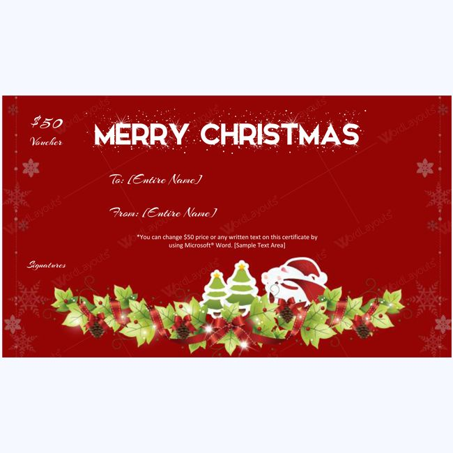 Falling Snow Christmas Gift Certificate Template #chirstmascard #card #giftcard #christmasgiftcertificate #christmas