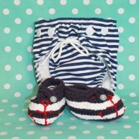Gorgeous baby boy summer gift set - swim cozzie and sailor shoes