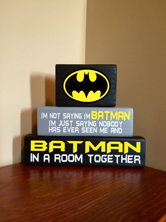 Batman Wood Block Set by CraftyWoodzyStore on Etsy