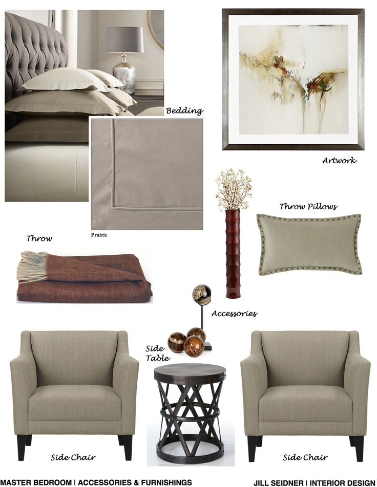 Monterey Heights CA Residence Master Bedroom Accessories Furnishings Concept Board