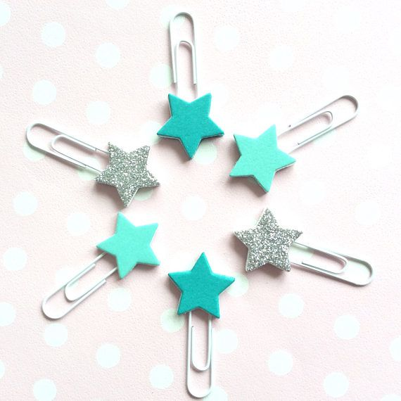 Teal & silver star bookmarks  glitter paperclip planner accessories by CherryMadeThis