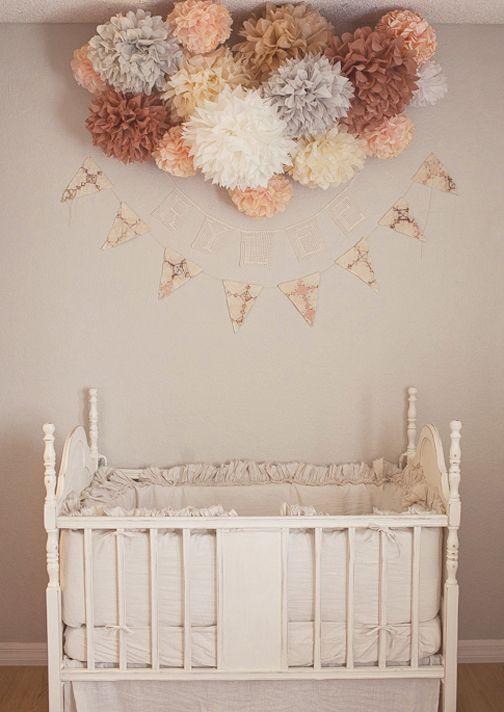 ❀ ❀ ❀ ❀: Paper Pom Pom, Pompom, Cribs Beds, Secret Boards, Baby Girls, Baby Rooms, Sweet Peas, Girls Nurseries, Gray Nurseries