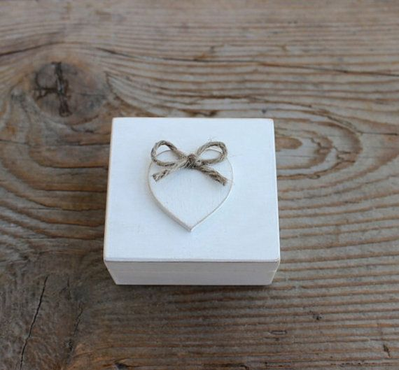 Ring Bearer Box / White Wooden Box / Rustic Wedding by NeliStudio