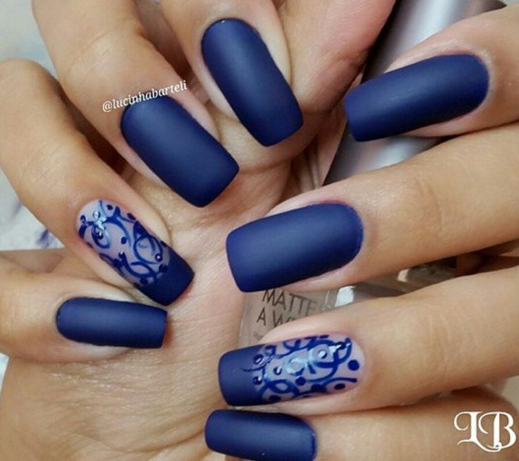Navy Dark Blue Square Tip Acrylic Nails w/ Lace Design. I'd like this better without the design