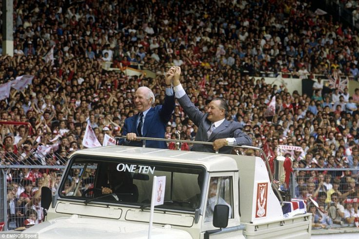 In this fabulous 1983 picture, United's legendary former manager Sir Matt Busby and the great Liverpool boss Bob Paisley, who had recently retired, paraded together around Wembley at the Charity Shield clash between the clubs  https://oddsjunkie.com <--  free football news and offers