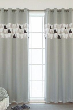 Grey Scandinavian Triangle Stripe Grommet Curtains - Set of 2