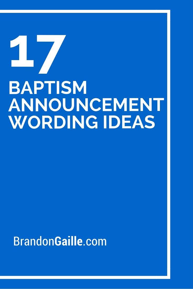 17 Baptism Announcement Wording Ideas More