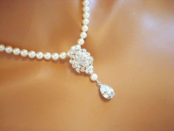 Wedding pearl necklace bridal necklace rhinestone by treasures570, $65.00