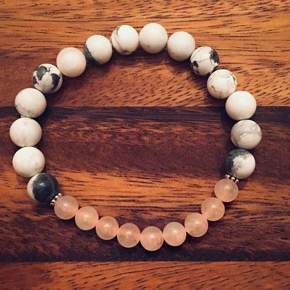 Natural Howlite & Rose Quartz Beaded Bracelet / Bead Bracelets