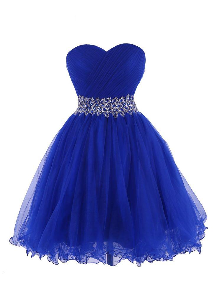 Tidetell 2015 Strapless Royal Blue Homecoming Beaded Short