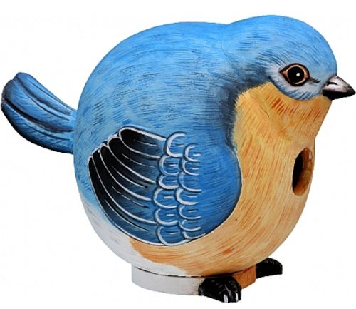This Bluebird Gourd-O Birdhouse by Songbird Essentials adds color & whimsy to any garden! These beautifully detailed wooden birdhouses come ready to hang under the canopy of your trees. Hand-carved fr