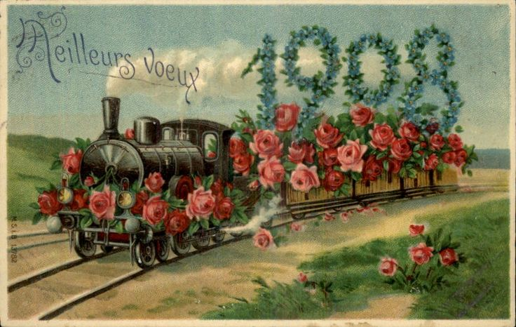 Old New Year Post Card — New Year Date 1908 'Train Loaded w Red Roses',1907  (1000x634):