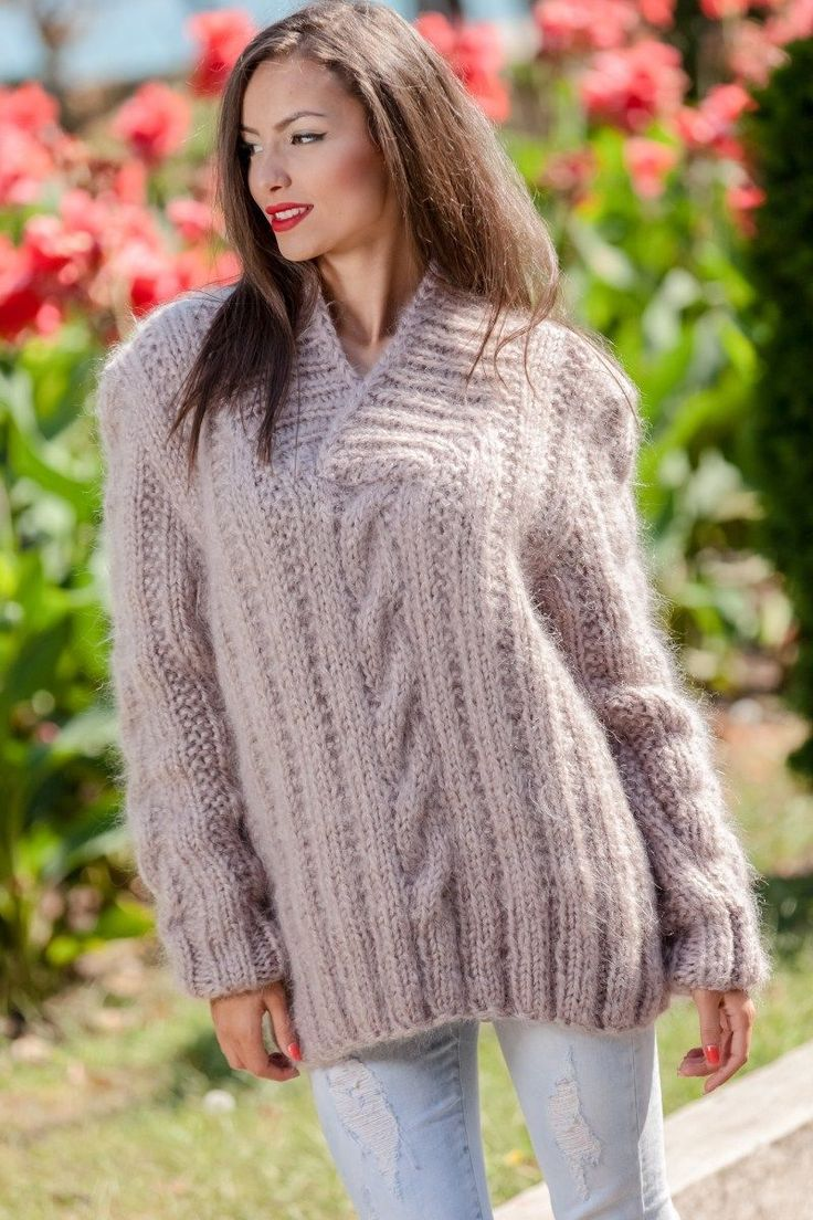 Tiffy Mohair Hand Knitted Shawl Sweater Cables Fuzzy Fluffy Thick M L T366 | eBay