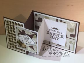 Debbie's Designs: True Gentleman Suite & Facebook Live Friday Folds Class! I used Stampin' Up! Truly Tailored stamp set, True Gentleman Buttons, Tailored Tag Punch, and True Gentleman Designer Paper to create a Double Z Fold. Debbie Henderson #truegentleman #stampinup #debbiehenderson #debbiesdesigns #zfold #cardfold #doublezfold