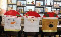 Navidad Decoración única Feliz Muñeco de nieve de Santa Alces Sombrero Comedor Cubierta de La silla Del Asiento Trasero Cubierta Decoración Del Partido de Navidad Tabla de Accesorios nueva