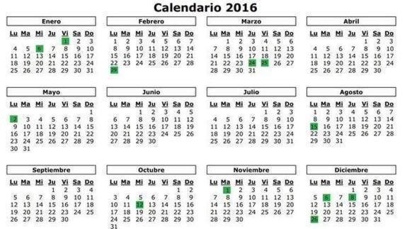 Calendario Laboral 2016: festivos, puentes, Semana Santa y Navidad