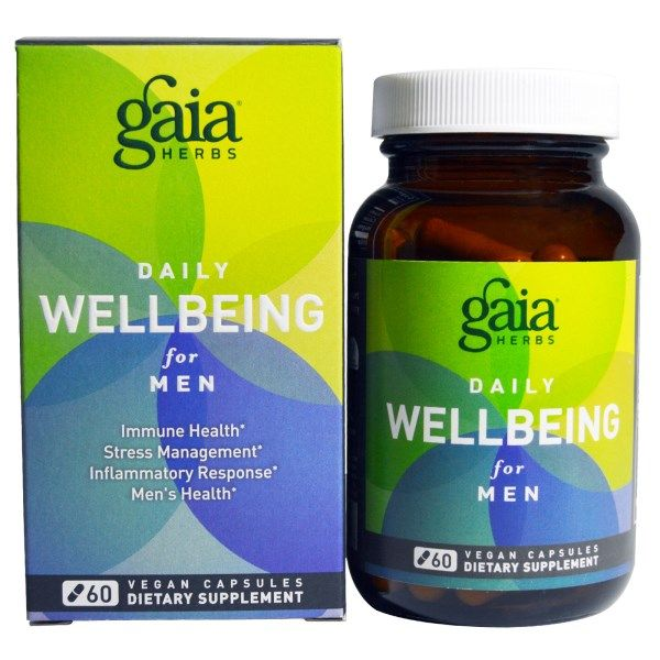 Gaia Herbs, Daily WellBeing for Men, 60 Veggie Caps  #stress #formula #support #balance #management #iherb #thingstobuy #shopping #relief