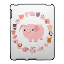 Cute Cartoon Pigs Mandala iPad Case by Lioness_Graphics