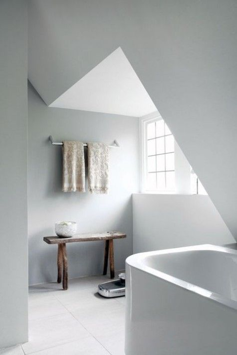 neutral tiles with white and wood is great