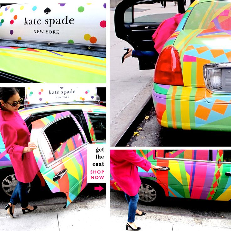 kate spade wrapped taxis for free trips to their stores on black friday in NYC