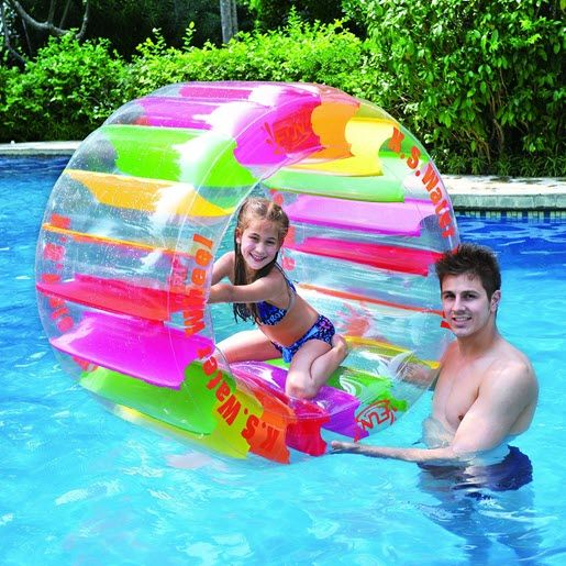 Kids will love playing on this inflatable water wheel pool toy.  #kids #pool