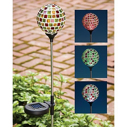 """Solar Tiffany Style Garden Globe, Item 47343, $14.99    Our art glass garden globe provides the perfect accent for your garden, drive or walkway. The bright LED is powered by the sun and turns on automatically at dusk creating a magical palette of sparkling colors that cascade from red to green to blue. Entirely solar powered, requiring no electrical wiring. Approximately 3"""" in diameter x 2½' tall with On/Off switch. Includes 1 """"AA"""" rechargeable battery."""
