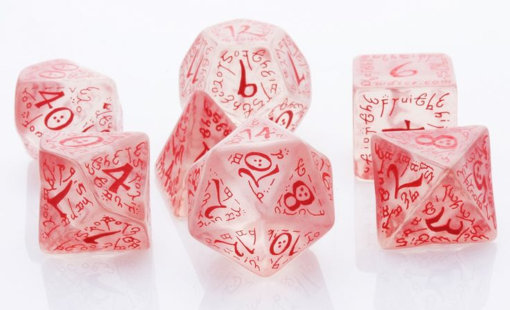 Elven Dice (Ice Red) | RPG Role Playing Game Dice Set