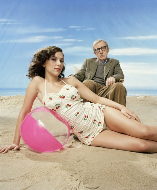 one-piece swimsuit, the beach, scarlett johansson, and woody allen. the best.