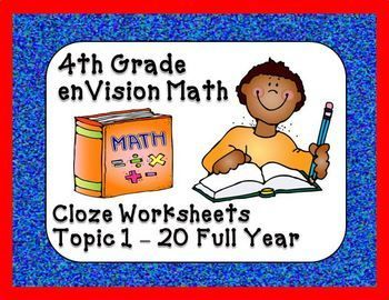 Worksheet Envision Math 4th Grade Worksheets 1000 ideas about envision math on pinterest small groups 4th grade vocabulary cloze worksheets topics 1 20 this package contains fourth