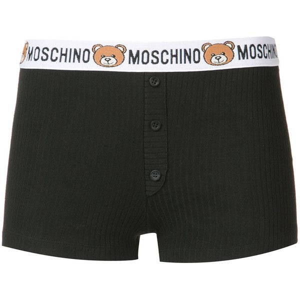Moschino bear logo tape girl boxer shorts ($100) ❤ liked on Polyvore featuring intimates, panties, black, cotton boxers, short boxer and moschino