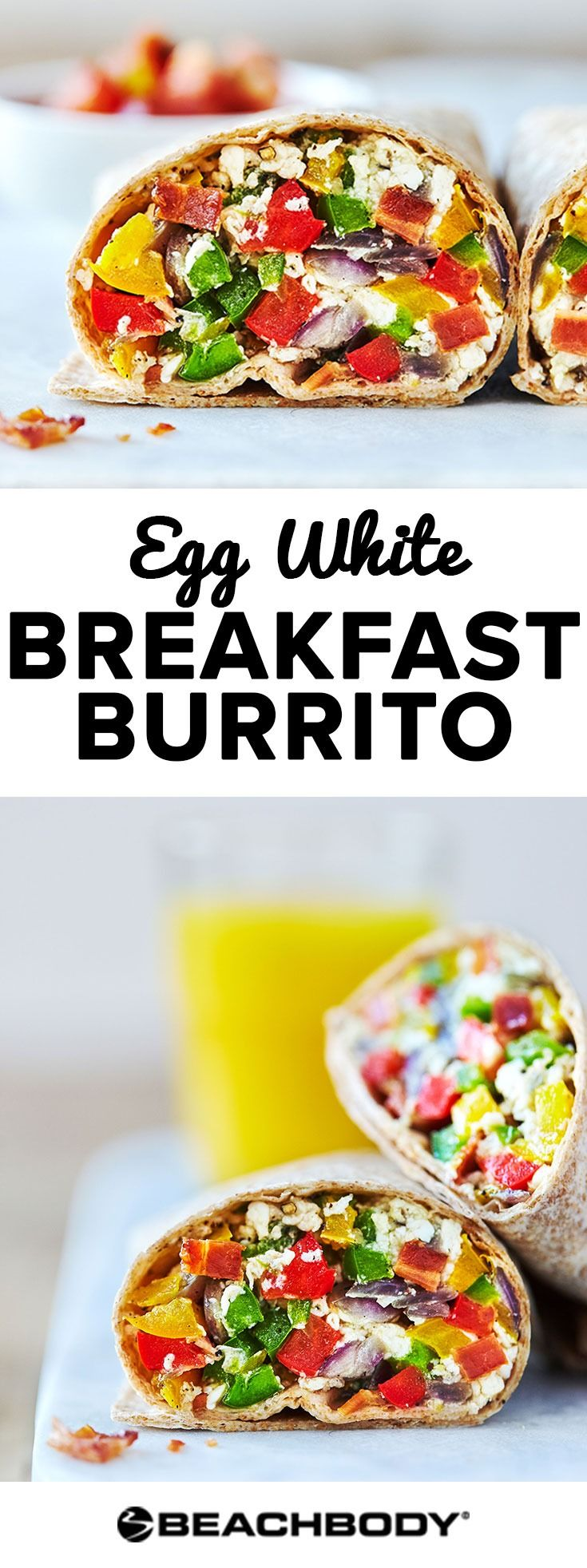 Try this delicious egg white breakfast burrito for an easy and healthy breakfast option. healthy breakfast recipes // healthy egg recipes // egg white recipe // best breakfast ideas // easy breakfast ideas // Beachbody // Beachbody Blog