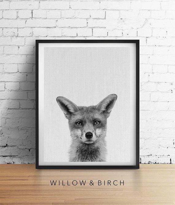 FOX Printable Art Woodland Animal Print by WillowandBirchPrints